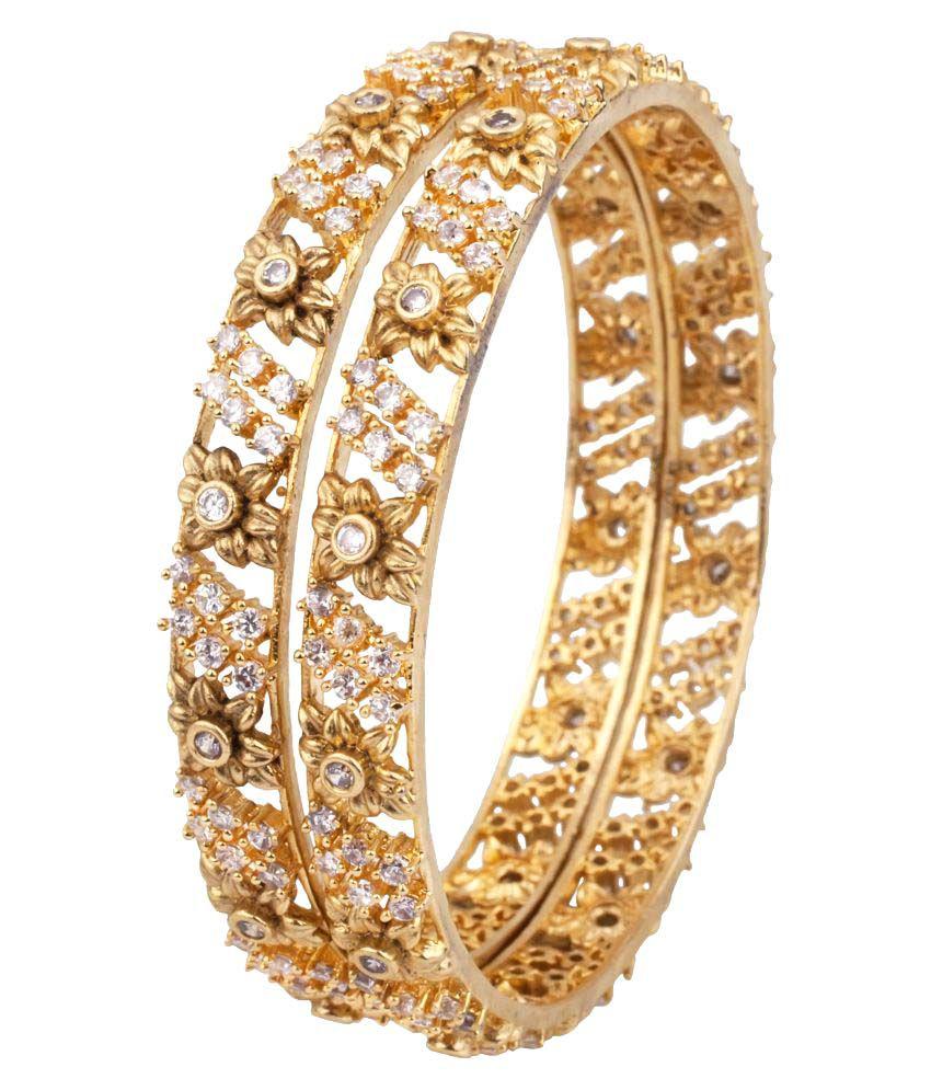 Makezak Golden Beautiful American Diamond Bangle Set for Women