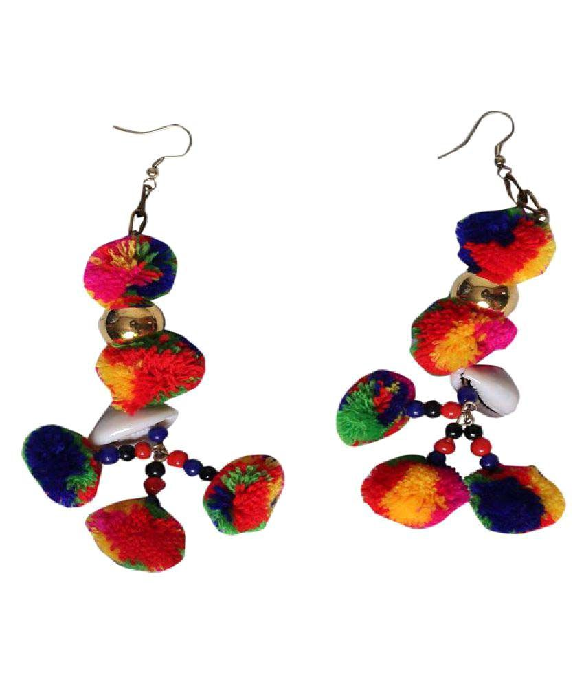 Uv Instyle Trendy Thread Multi Coloured Fashion Earrings For Women Cotton Dori Hanging