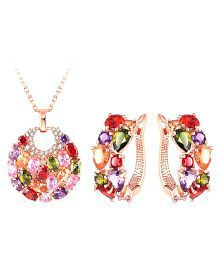 Jewels Galaxy New Arrival Stunning 18K Rose Gold Plated Top Quality AAA Swiss Cubic Zirconia Pendant Earrings Set For Women/Girls