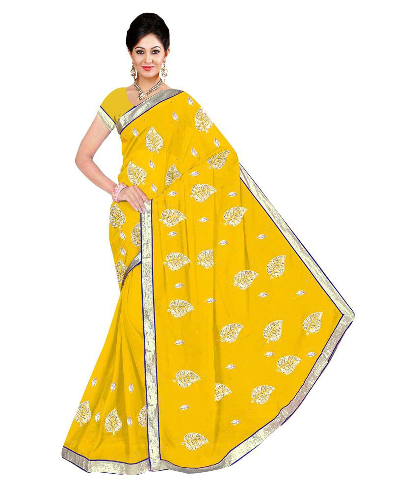 Winza Designer Yellow Georgette Saree