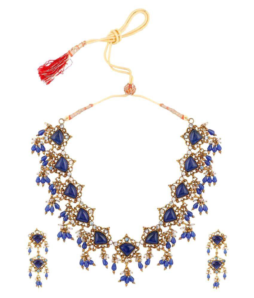 Evolution Art Blue Brass Necklace Set