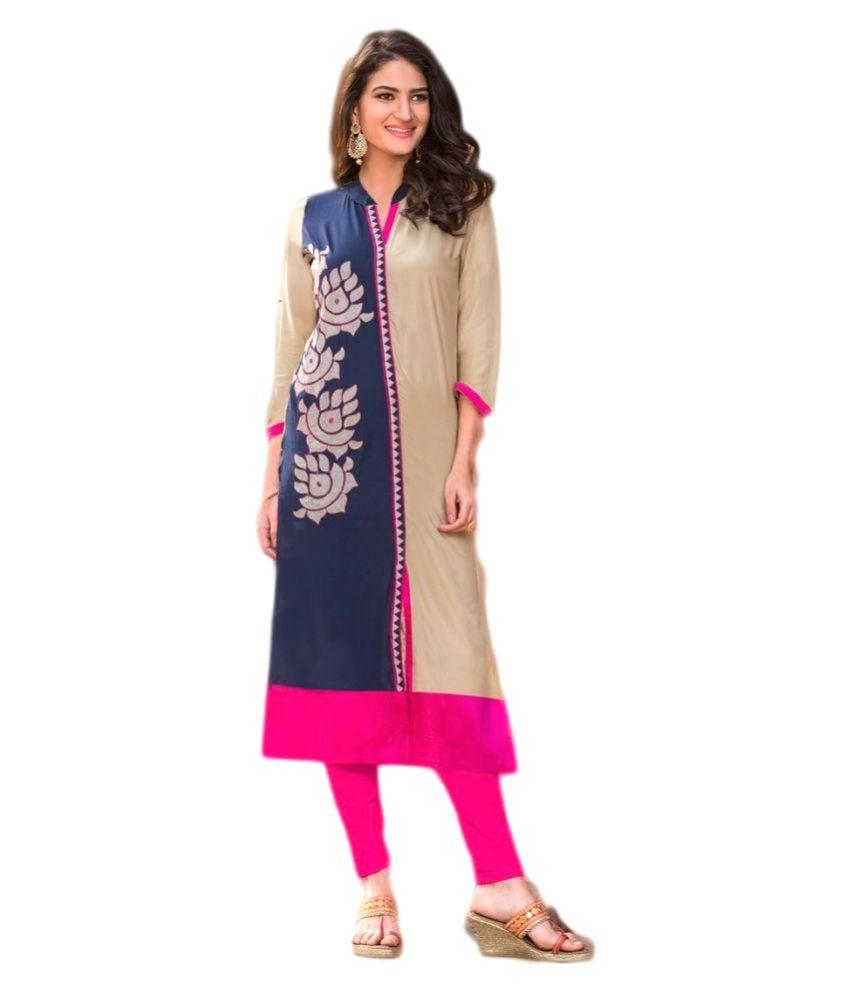 Garment Multicoloured Rayon Straight Kurti