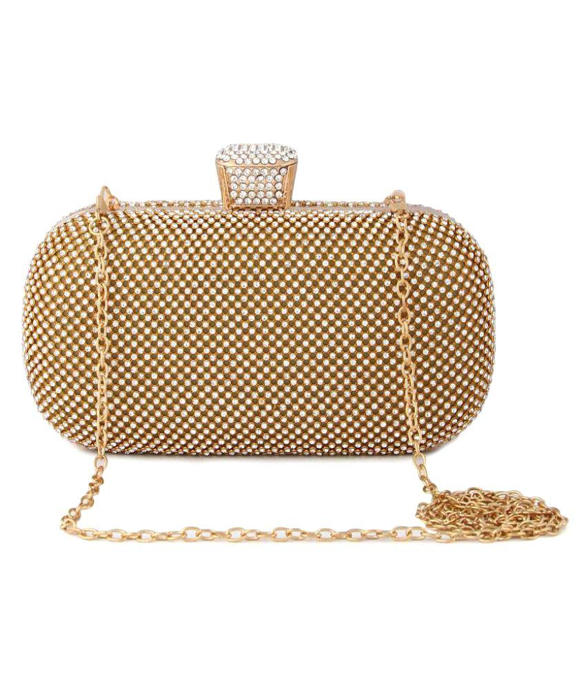 Bell One Gold Fabric Box Clutch
