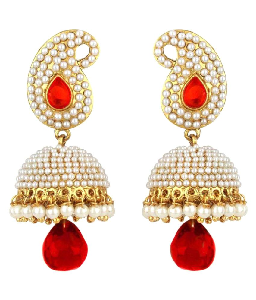 Jewels Gold Alloy Traditional Inspired Studded Pearls Beautiful Jhumka/Jhumki Earring Set For Women & Girls