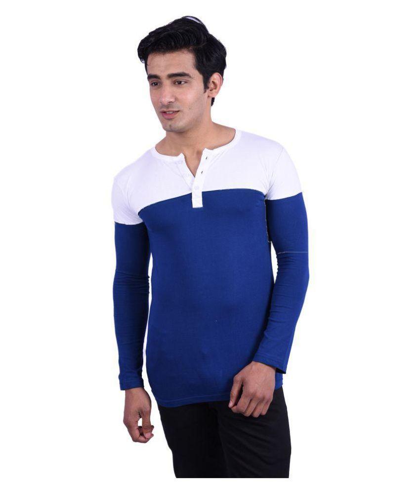 Rap Fabrics Blue Henley T-Shirt
