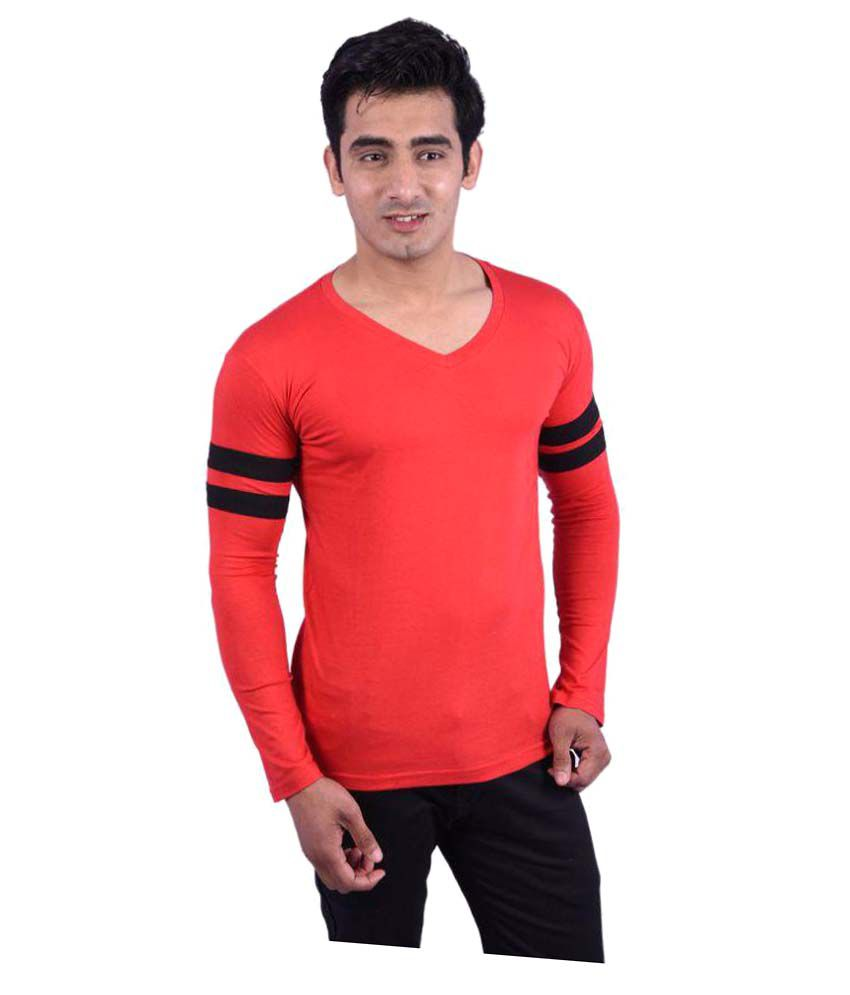 Rap Fabrics Red V-Neck T-Shirt