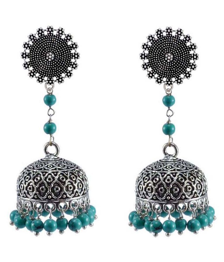 Indian Jewelry-Reconstituted Blue And Floral Jhumki Earrings-Hand Crafted Jewellery By Silvesto India PG-32913