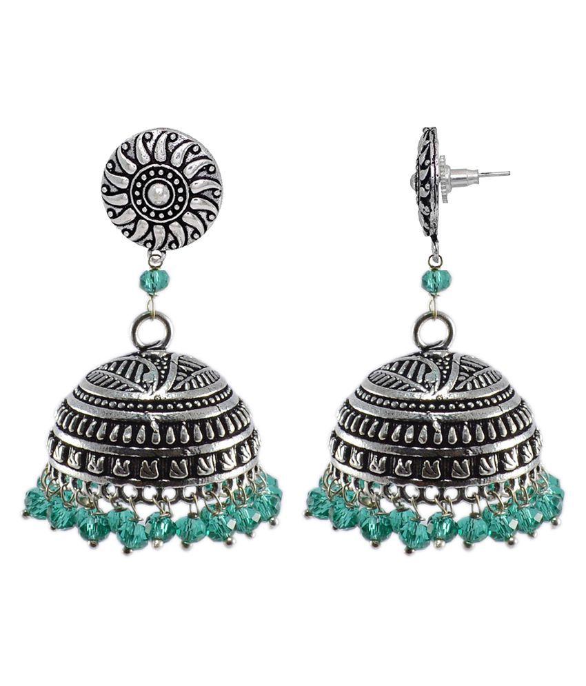 Silvesto India Sea Green Crystal Beaded Tribal Hand Crafted Round Jhumki Earrings