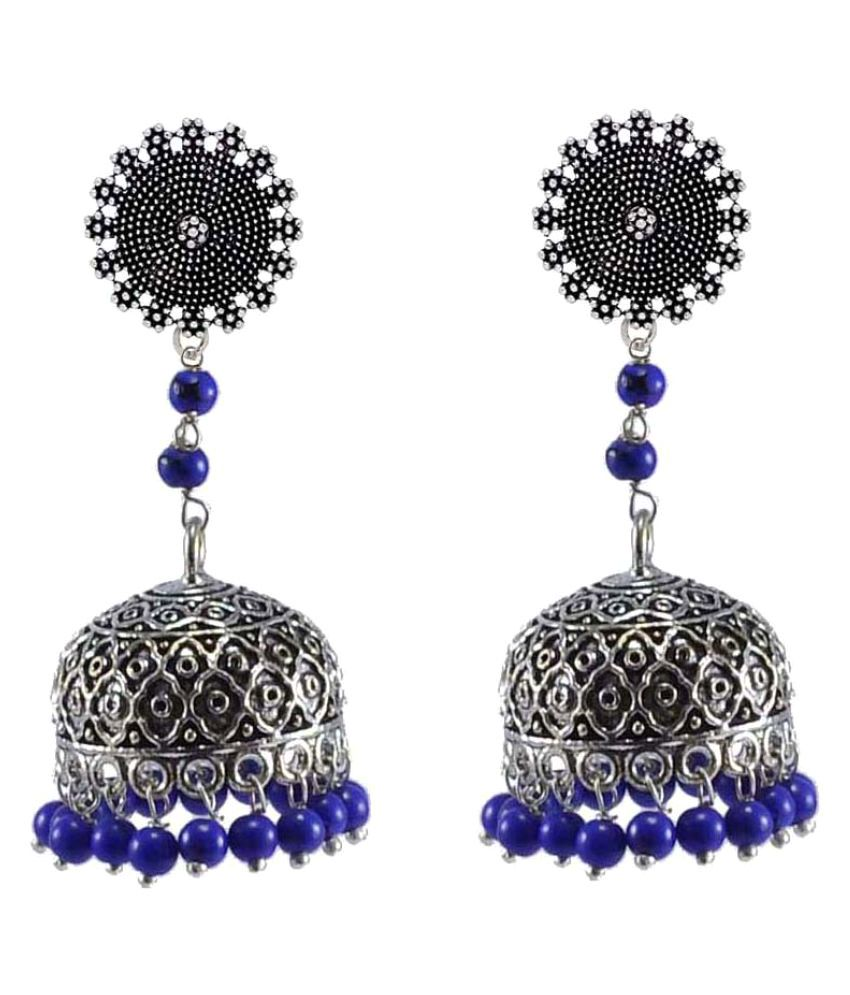 Silvesto India Silver Indian Religious Floral Jhumkis Earrings