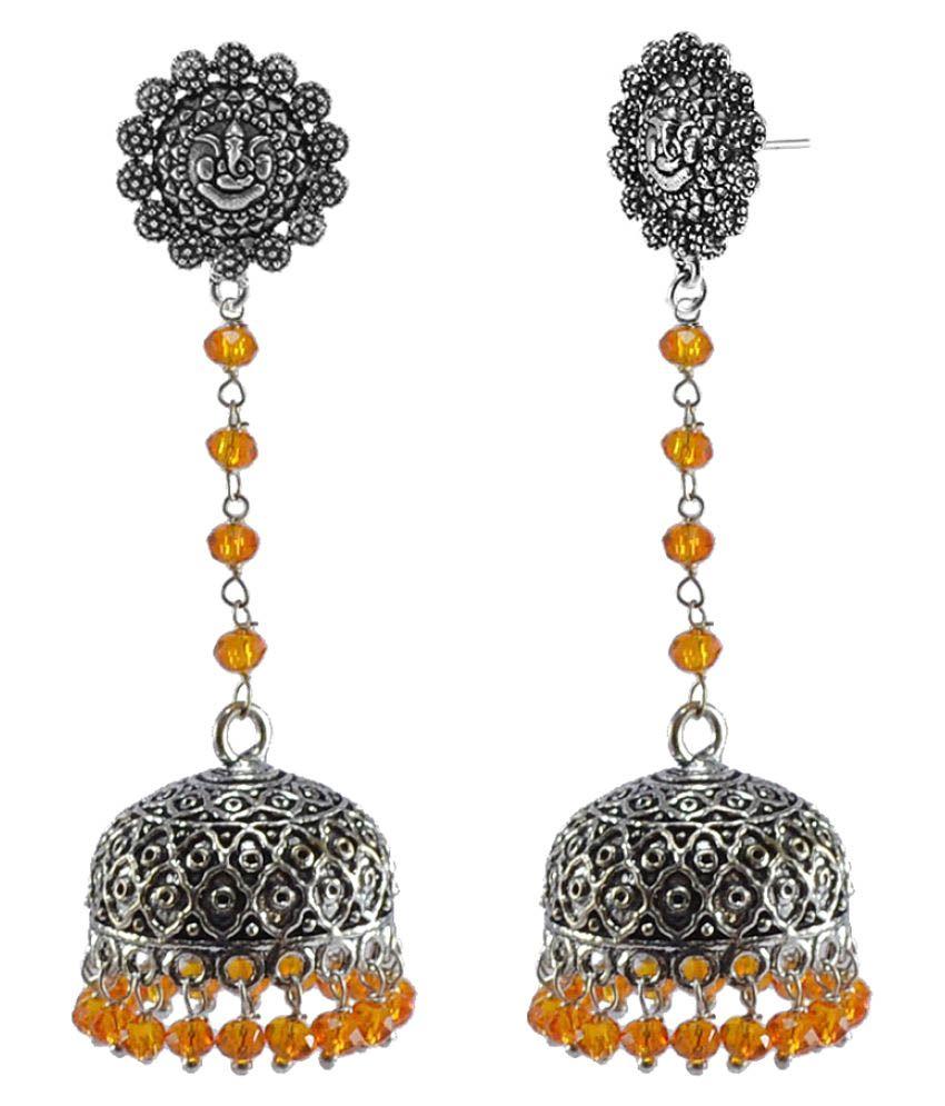 Silvesto India Vintage Japuri Crafted Jewellery Ganesha Jhumki