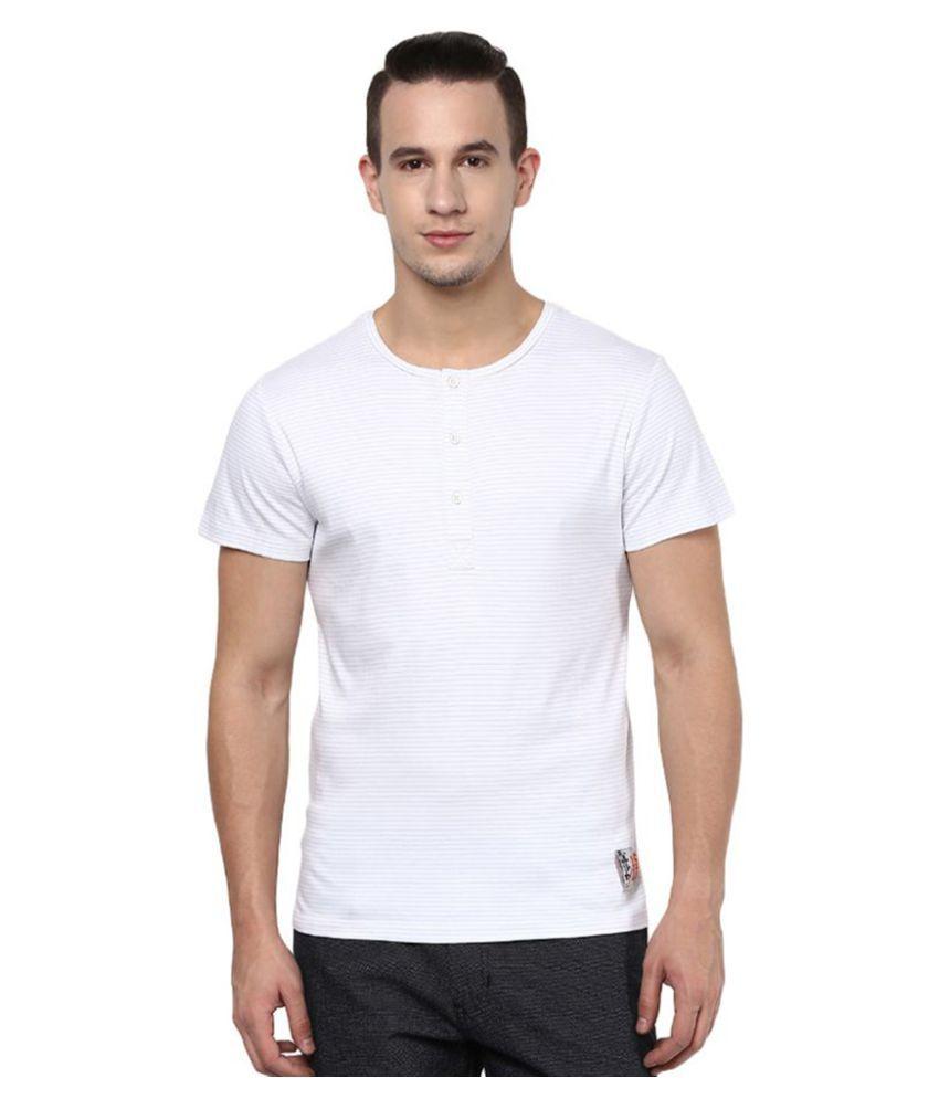 Atorse White Henley T-Shirt