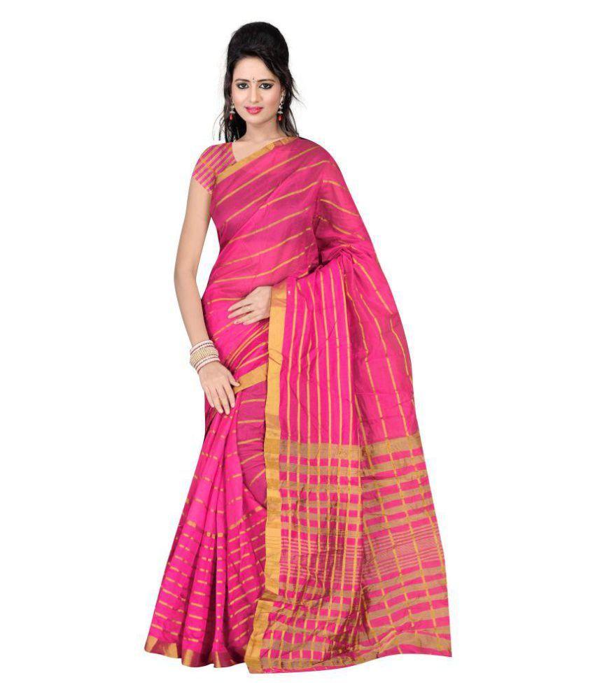 Shagun Trendz Pink Cotton Silk Saree