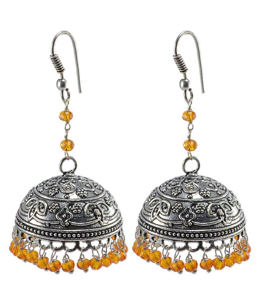 Silvesto India Yellow Designer Jhumki Earrings