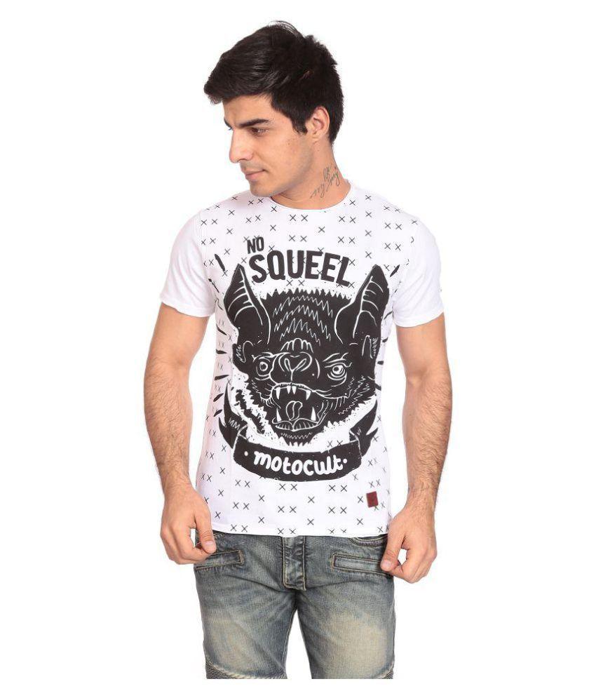 Motocult White Round T-Shirt