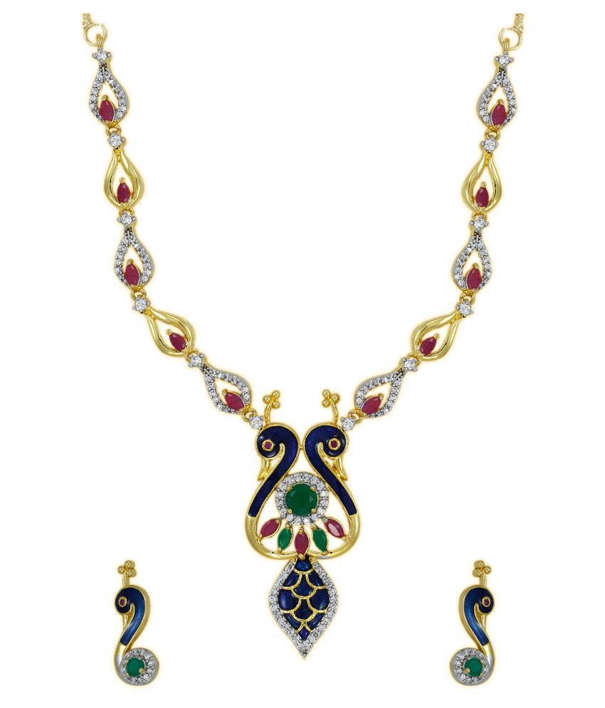 Zaveri Pearls Enamelling Twin Peacock Designer Cubic Zirconia Necklace Set - ZPFK5867