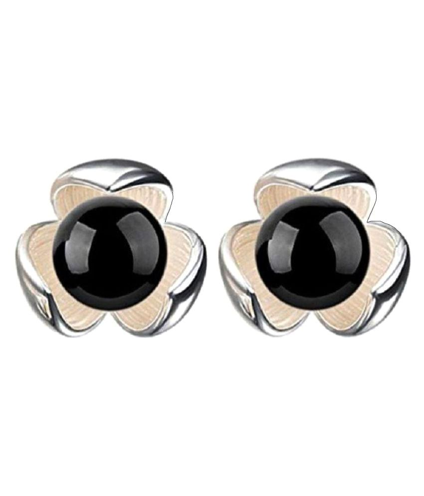 4009cf71c Fashion Black Stone Flower Stud Earrings - Buy GirlZ! Fashion Black Stone  Flower Stud Earrings Online at Best Prices in India on Snapdeal