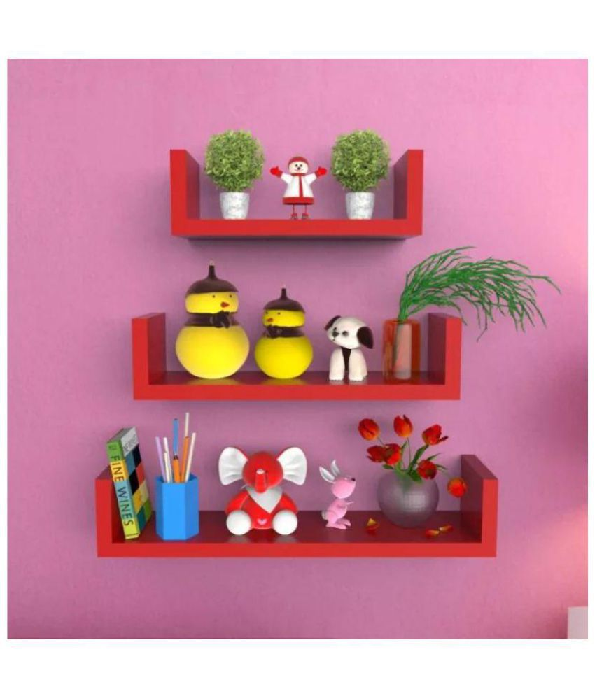 Onlineshoppee Floating Shelf Wall Book Storage 1 Set Shelves Decoration Red