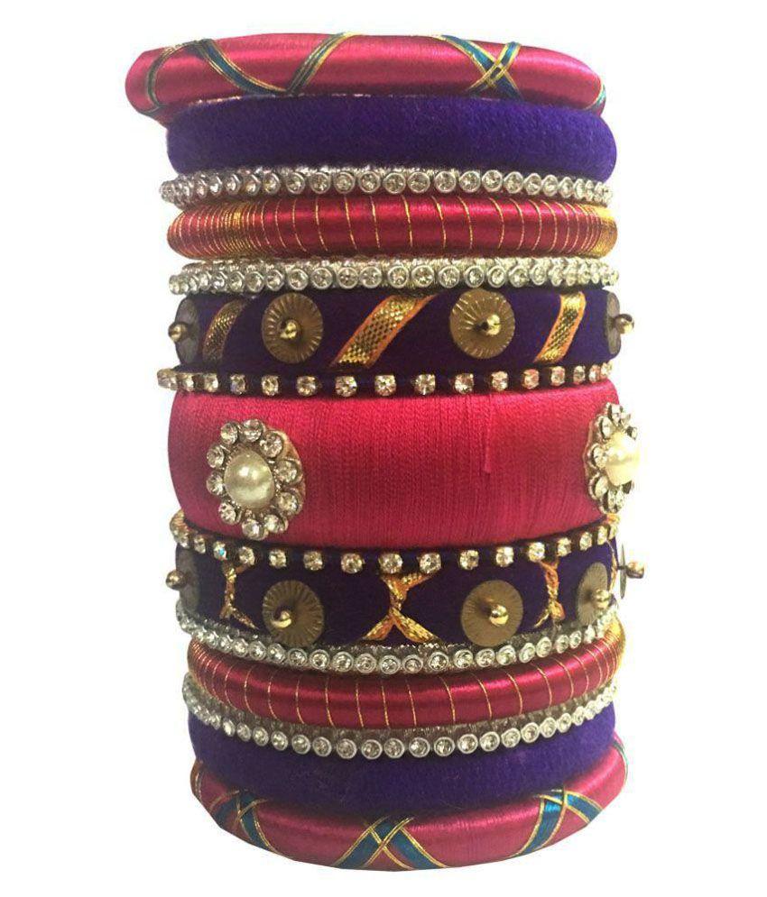 Kuhuk Multi Color Silk Thread Bangle Set