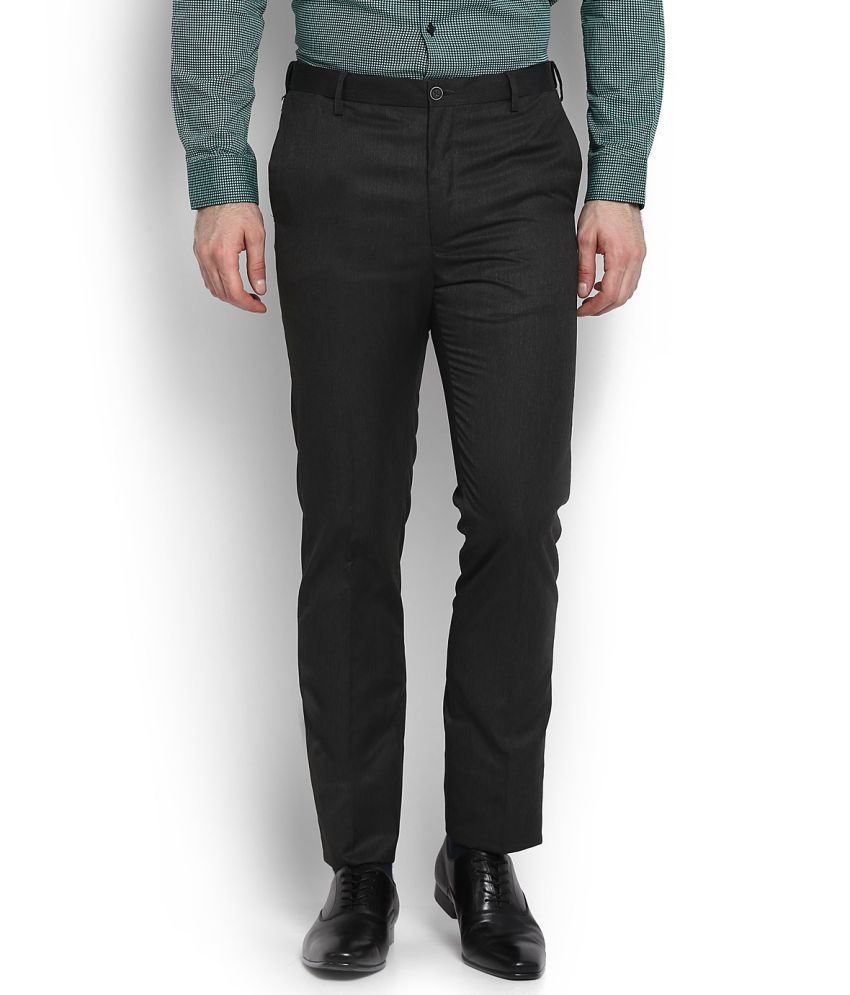 Arrow New York Grey Slim -Fit Flat Trousers