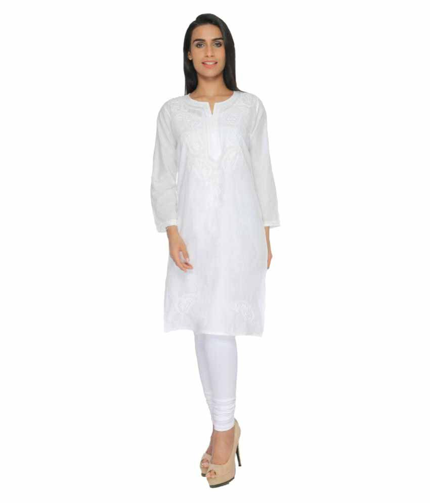 18a5b8c18 Bds Chikan White Cotton Straight Kurti available at SnapDeal for Rs.600
