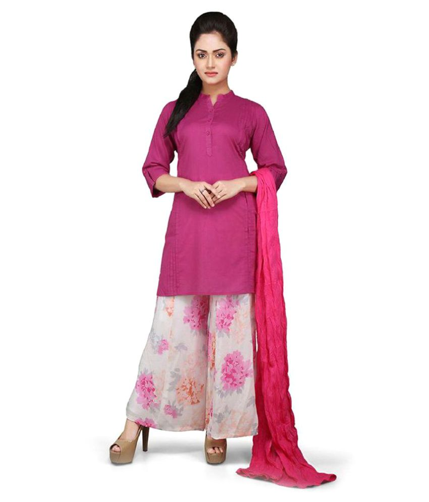 Vastra Vinod Pink Cotton Straight Stitched Suit