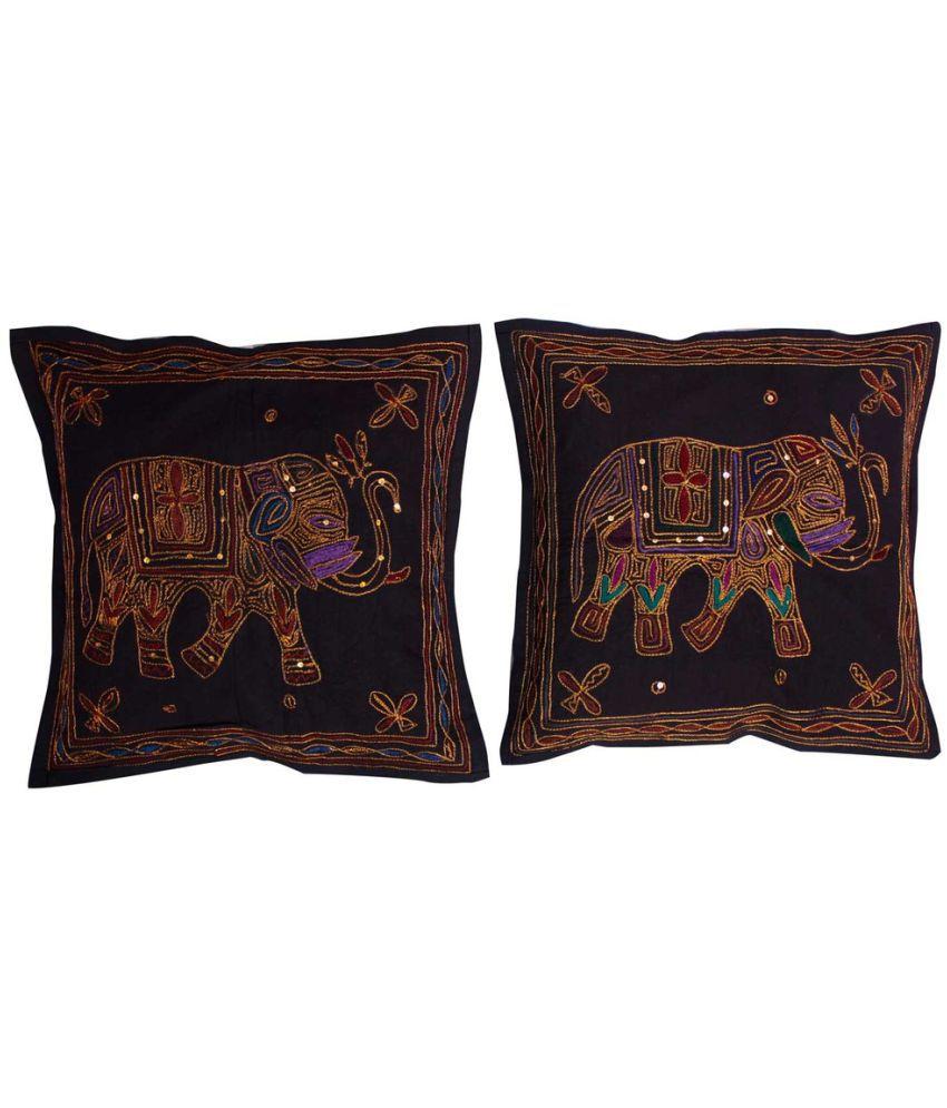 Shilpbazaar Set of 5 Cotton Cushion Covers 40X40 cm (16X16)