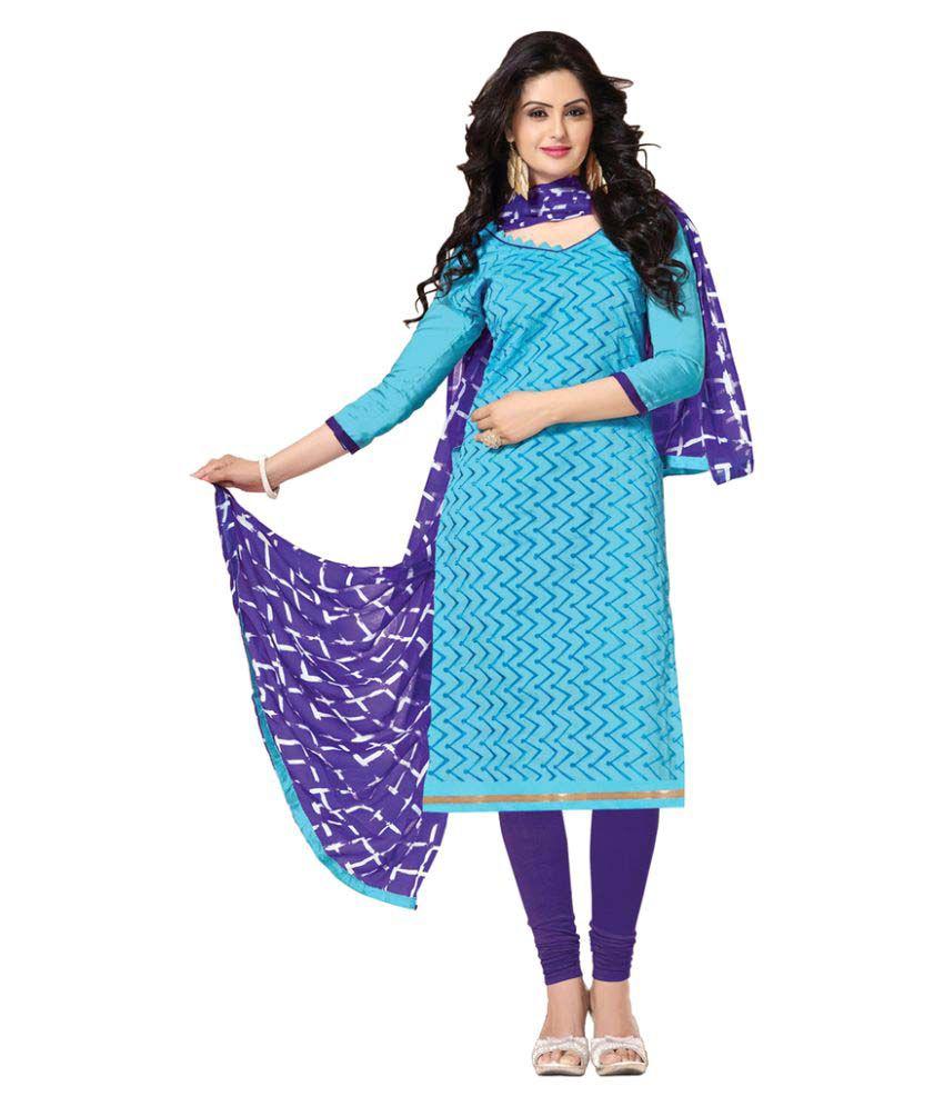 Snapshopee Blue Chanderi Dress Material