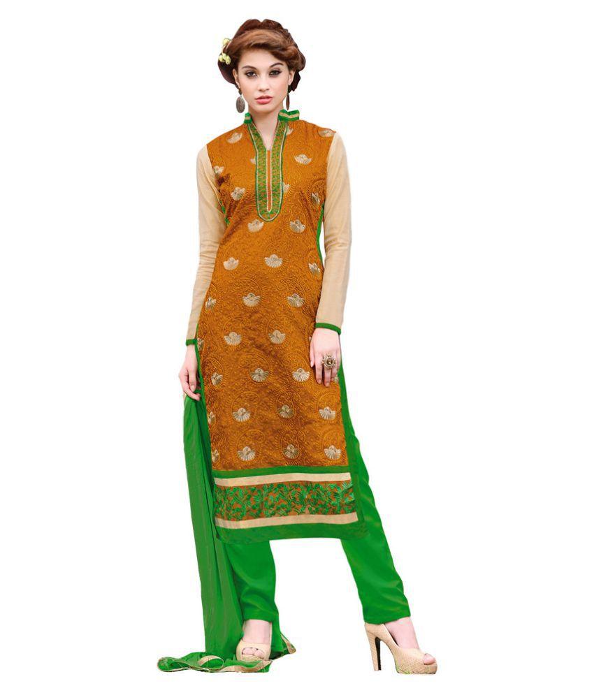Snapshopee Orange Chanderi Dress Material