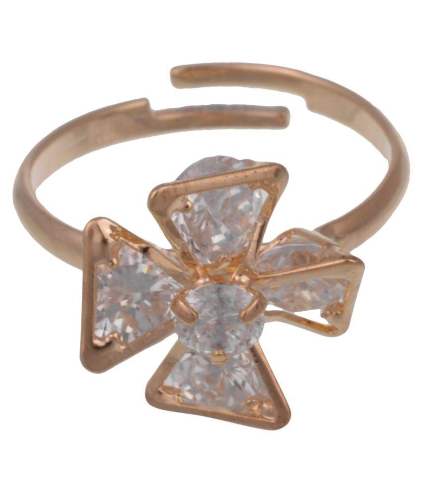 Gold Plated Trendy Elegant Cz Diamond Adjustable Ring