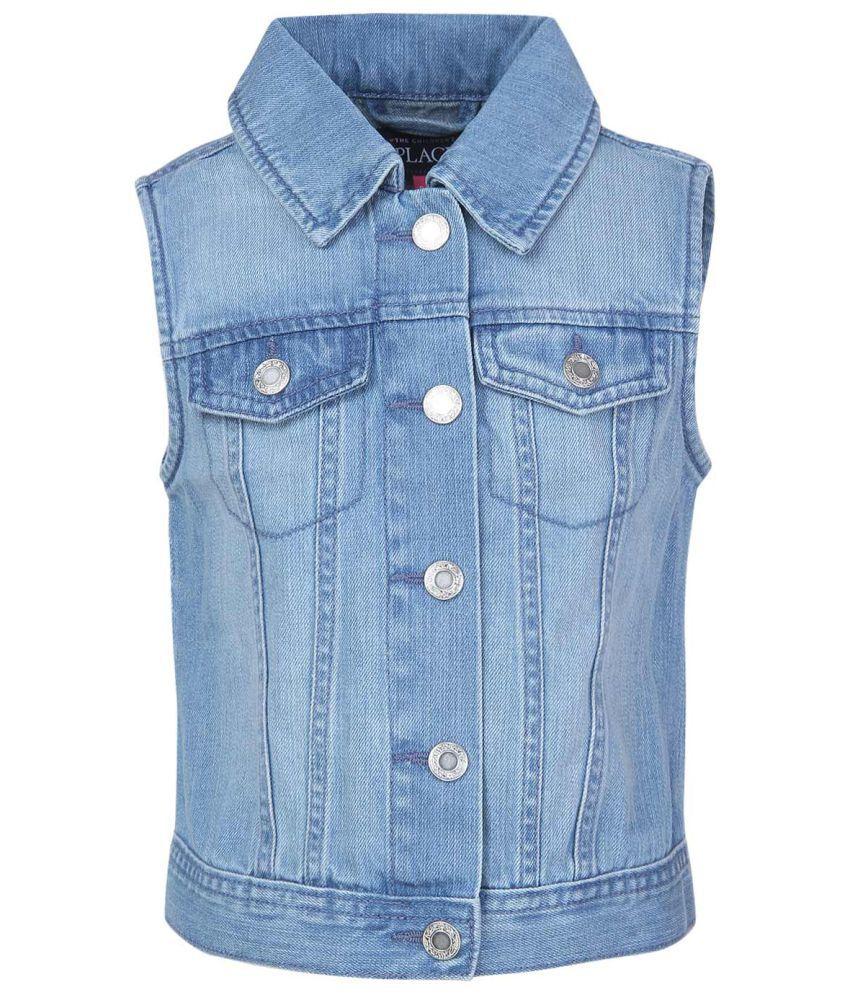 The Childrens Place Girls Blue Sleeveless Denim Vest