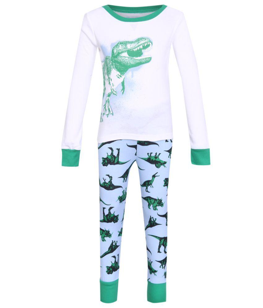 The Childrens Place Boys White Long Sleeve Dinosaur Graphic Top And Dinosaur Print Pants PJ Set