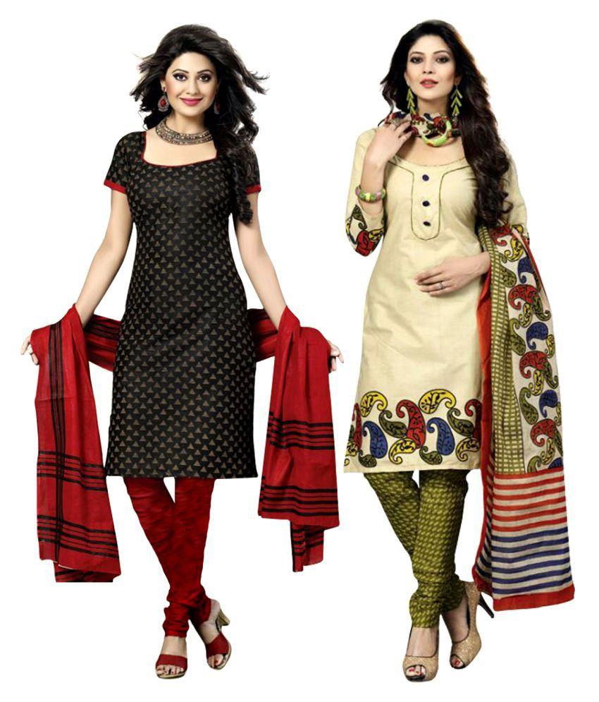 Drapes Beige Cotton Dress Material