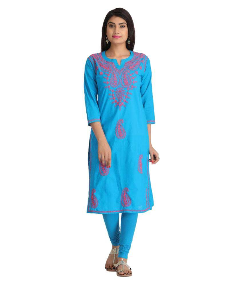 Ada Blue Cotton Straight Kurti