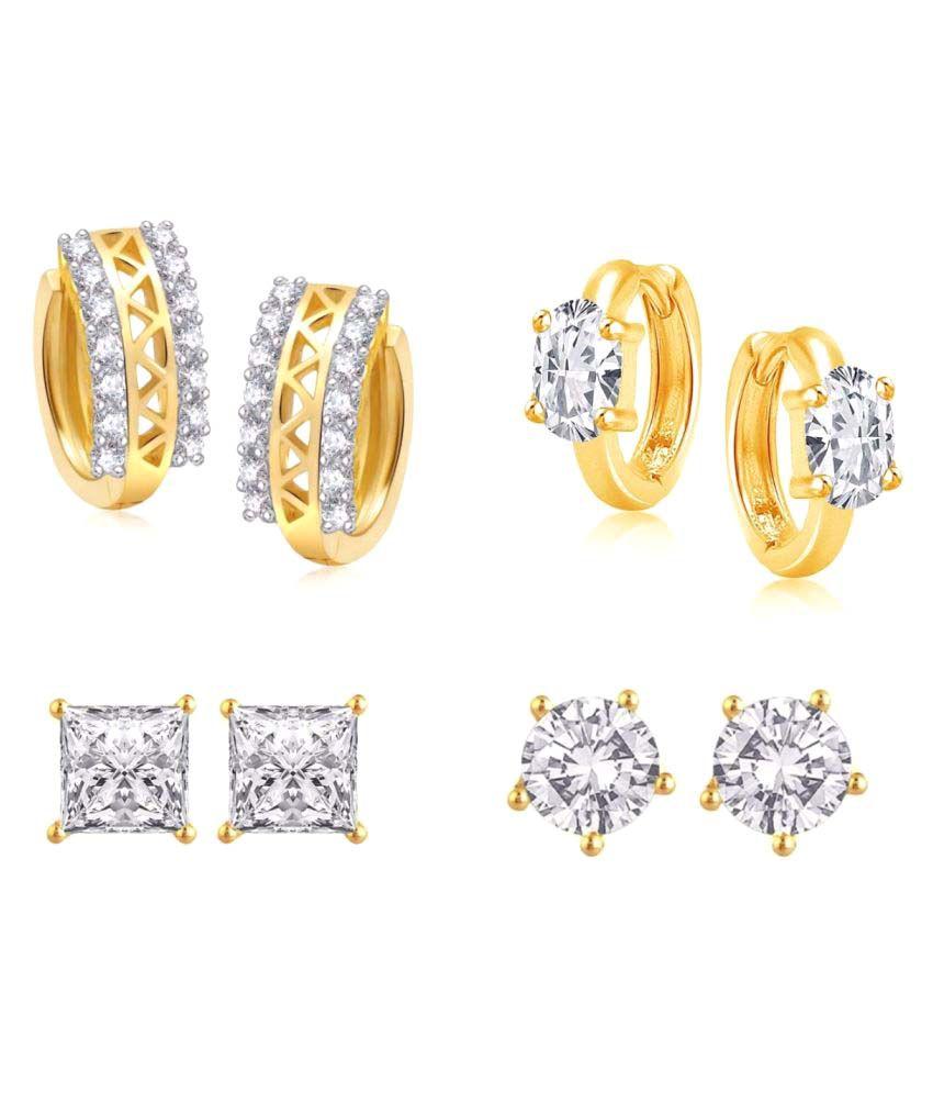 Efulgenz Designer Golden CZ Earrings - Pair of 4