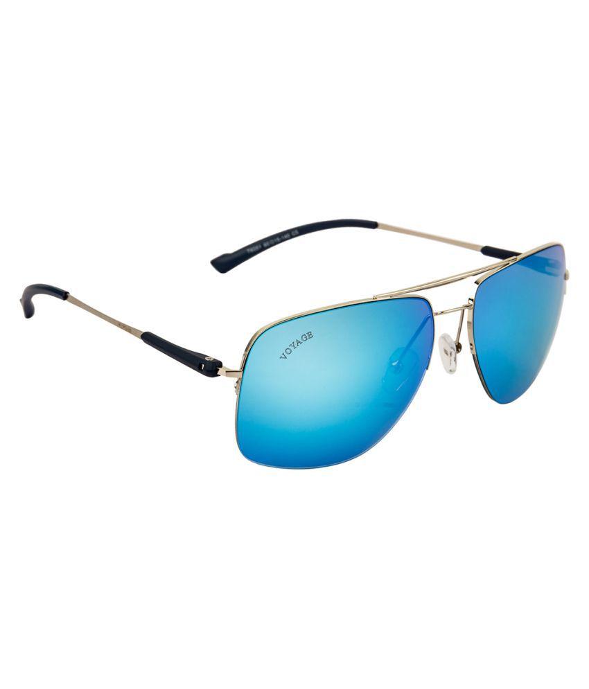 Voyage Blue Rectangle Sunglasses ( T6051MG1413 )