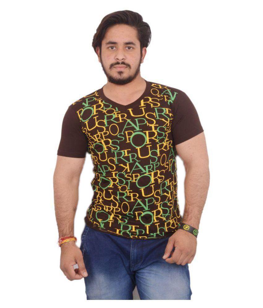 Hero & Piyush Brown V-Neck T-Shirt