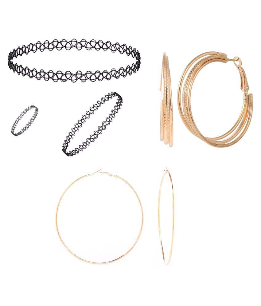 Archi Collection Combo of 1 Nackelace, 1 Ring, 1 Bracelet and 2 Trendy Earring for Girls and Women
