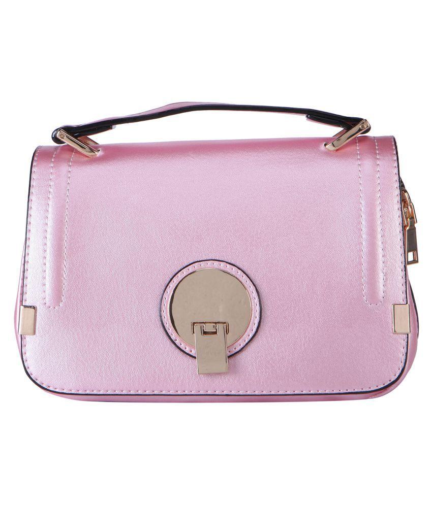 Mundo De La Moda Pink Faux Leather Sling Bag