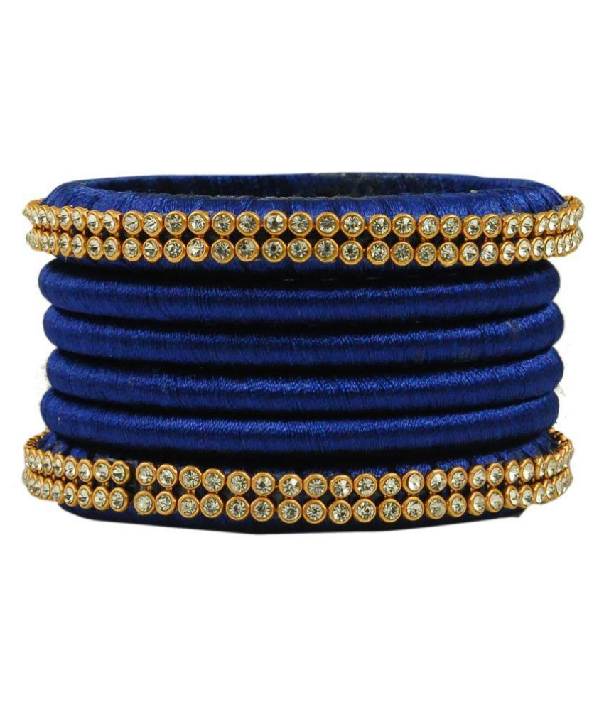 Maalyaa Blue Colur Thread Bangle Set For Girls And Womens/ Size:2.6