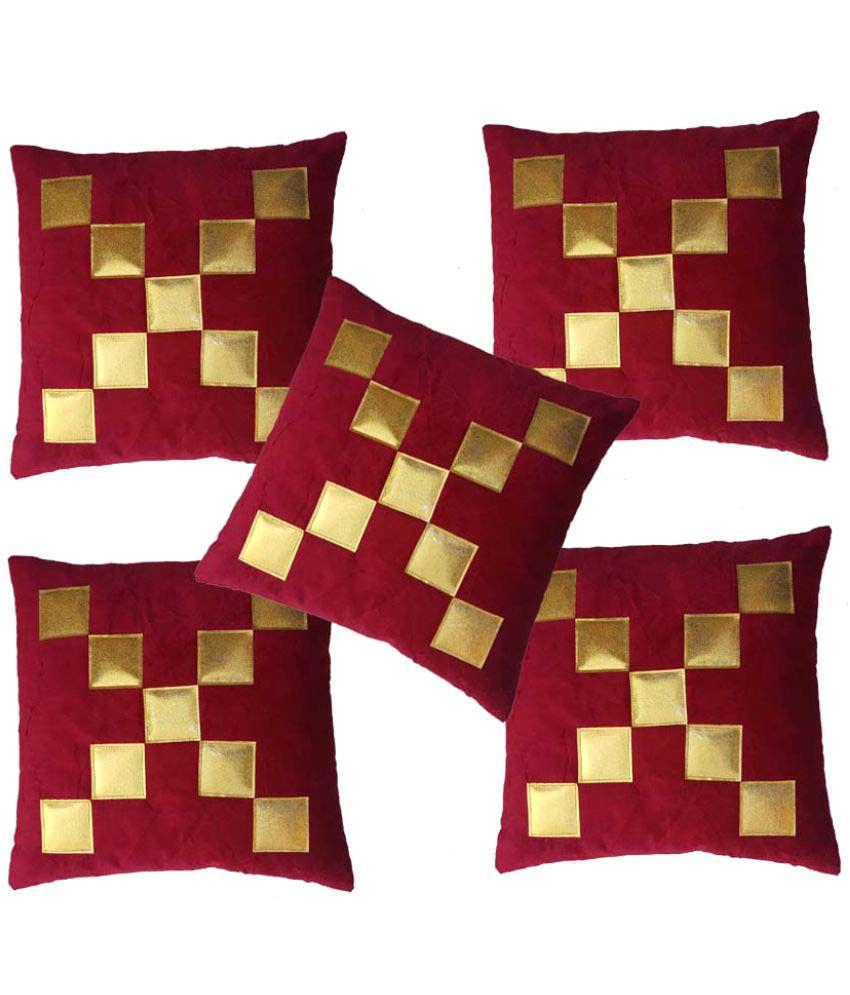 MSenterprises Set of 5 Velvet Cushion Covers 40X40 cm (16X16)