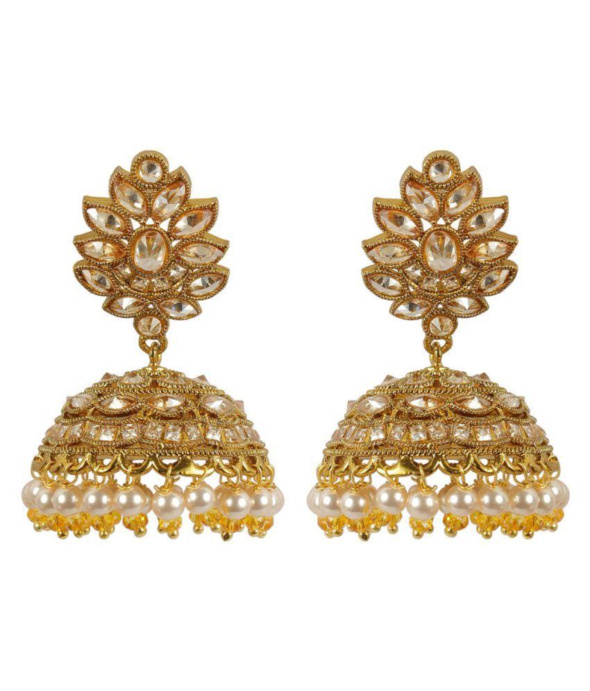 Much More Golden Jhumki Earrings