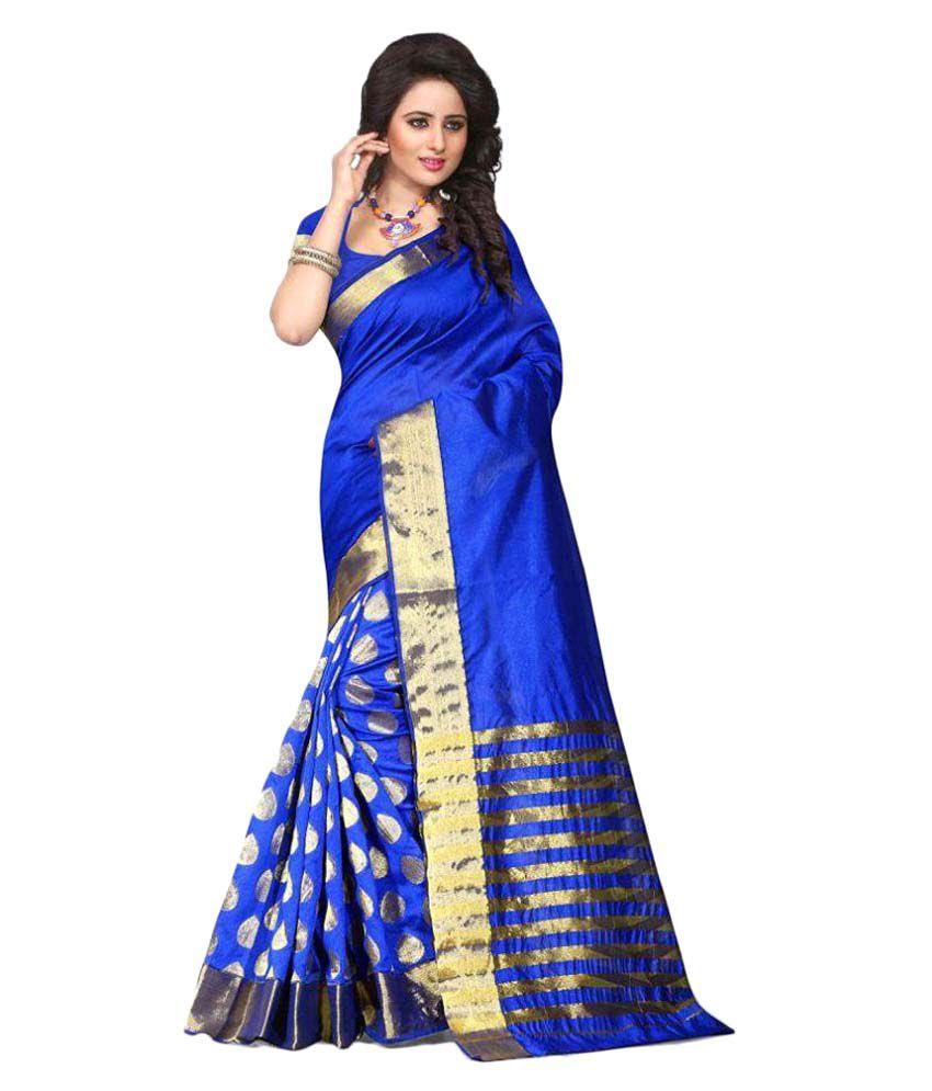 Aar Vee Blue Cotton Saree