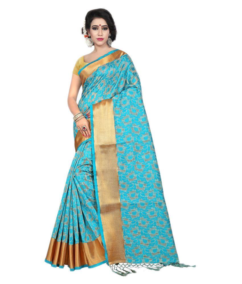 Online Bazaar Blue Tussar Silk Saree