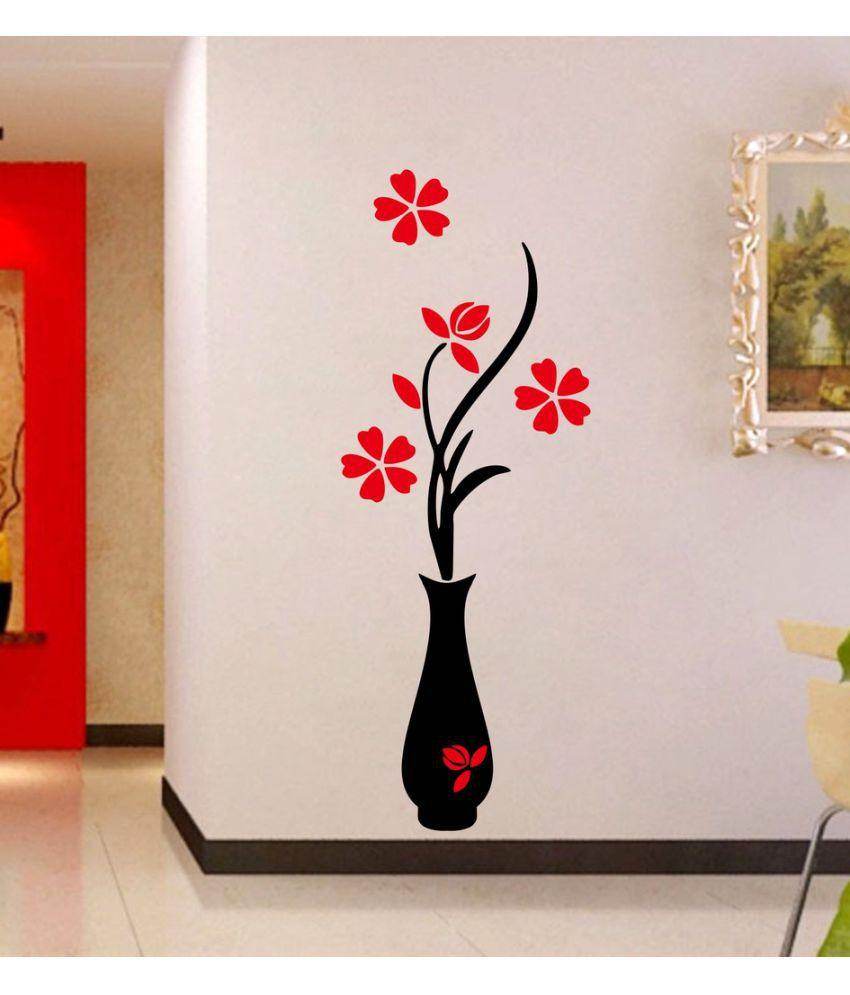 Decor Kafe Flower Pot Vinyl Multicolour Wall Stickers Buy Decor