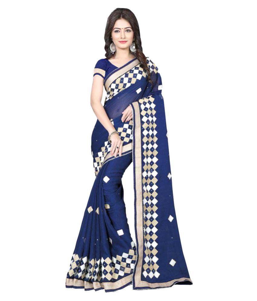 Fashions World Blue Chiffon Saree