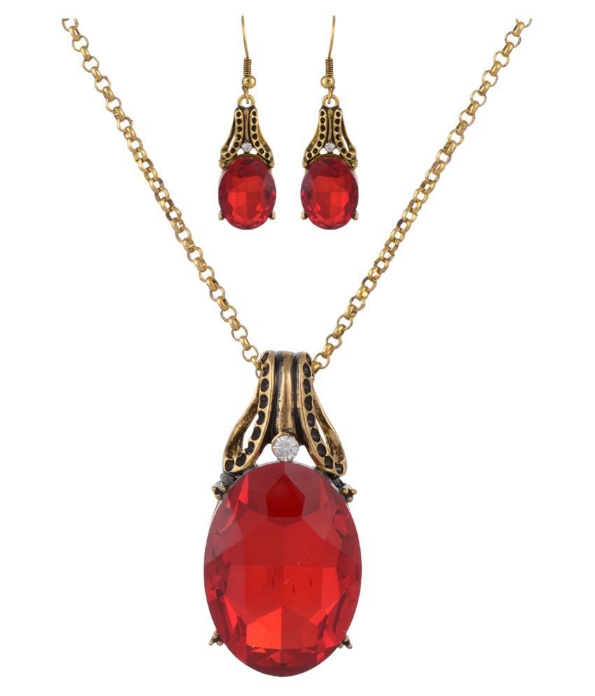 High Trendz Crystal Jewellery Pendant with Chain and Earrings