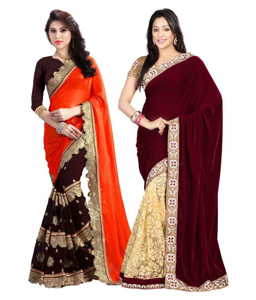 Online Bazaar Multicoloured Georgette Saree Combos
