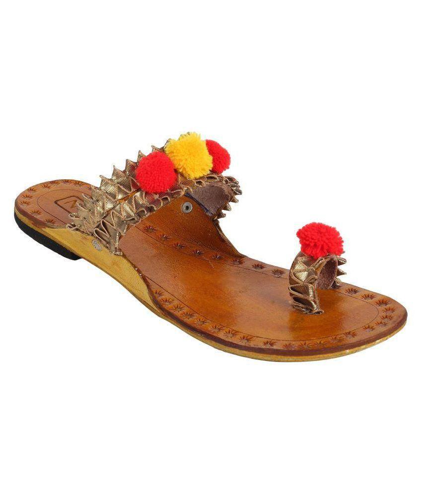 N-Gal Tan Flat Ethnic Footwear