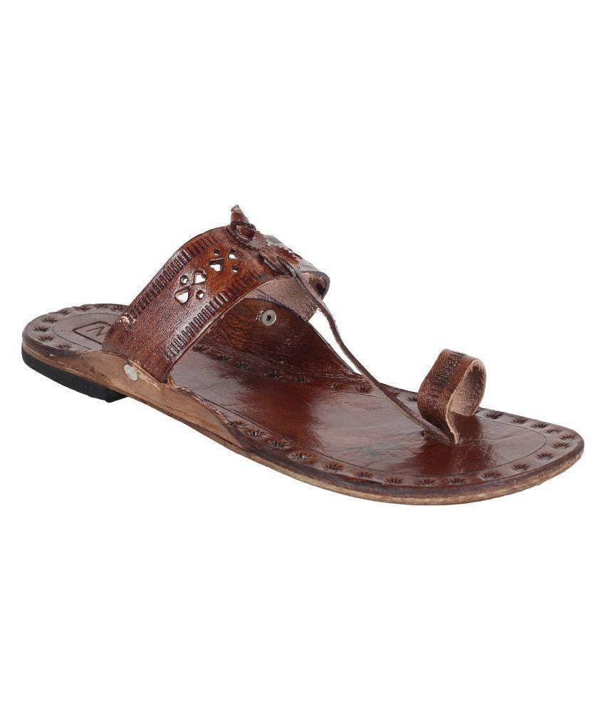 N-Gal Brown Flat Ethnic Footwear