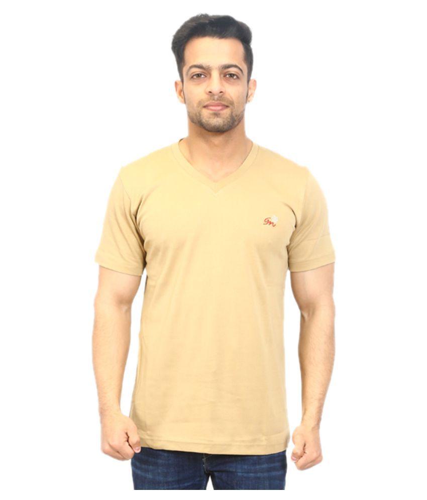 Go-On Khaki V-Neck T-Shirt